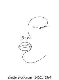 Abstract Woman face one line drawing. Female Portret minimalistic style