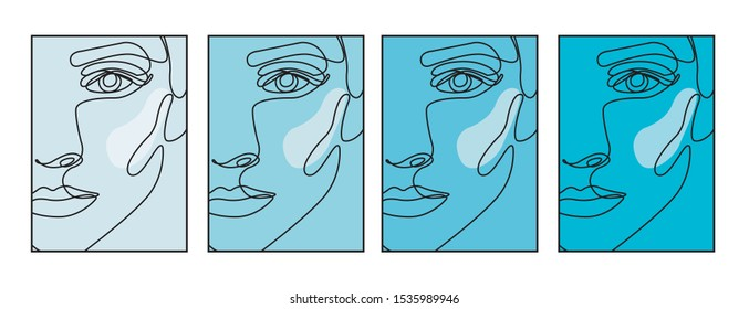 abstract woman face in one line drawing. Portret minimalistic style.  Continuous line.