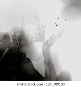 abstract Woman face silhouette. ink effect Forest background.Vector double exposure illustration.Woman face and beautiful nature landscape inside. fog in the forest. 10eps