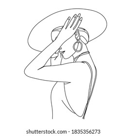 Abstract woman with hat with by line art vector drawing. Portrait minimalistic style.  Beaty salon logo.