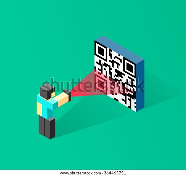 Abstract Woman Man Scanning Qr Code Stock Vector (Royalty Free