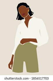 Abstract woman portrait. Afro american black skin girl. Fashion illustration.