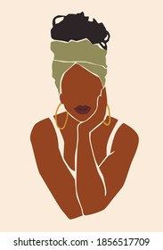 Abstract woman portrait. Afro american black skin girl. Fashion illustration.