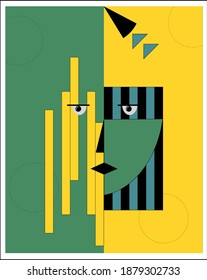 Abstract woman portrait in contemporary style. Colorful geometric face, modern vector illustration, art design