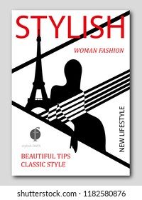 Abstract woman with striped top in Paris with Eiffel Tower. Fashion magazine cover design. Vector illustration