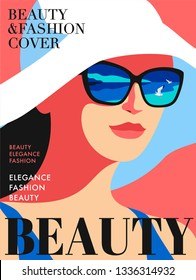 Abstract woman wearing big white hat. The sea and seagulls are reflected in sunglasses. Fashion magazine cover design for summer holiday season. Vector illustration