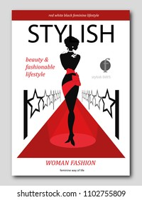 Abstract womanon a red carpet with stars. Luxury Fashion magazine cover design. Vector illustration