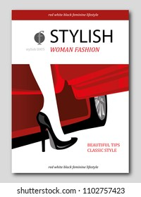 Abstract woman's leg, who getting out of red car. Luxury Fashion magazine cover design. Vector illustration