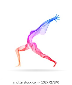 Abstract woman's silhouette, yoga pose, asana, bright, modern illustration over white background