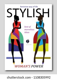 Abstract women silhouette in african style. Fashion magazine cover design. Vector illustration