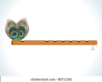 abstract wood flute with feather vector illustration