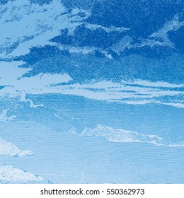 Abstract woodcut styled background. Clouds in a Blue sky, retro engraving style. Design element. Vector illustration