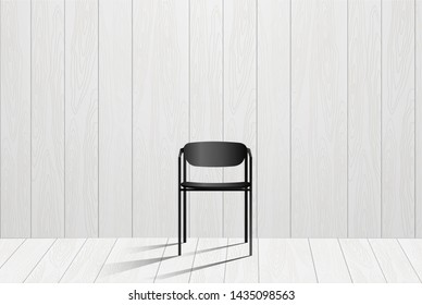 Abstract wooden wall design with black chair with shadow. Wallpaper mock up design for advertise and any ideas in EPS10 vector illustration