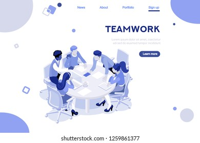 Abstract workplace. Calendar statistics solutions, graphs, infographic of database. Creative interact set. Workspace, people build situations. Flat isometric illustration isolated on white background