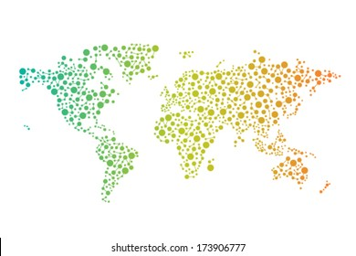 Abstract World connections map with circles, lines and color gradients. vector design