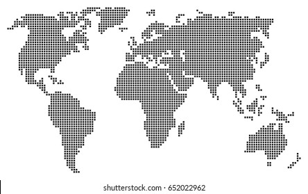 Abstract world map consisting of black squares isolated on white background. Vector EPS10