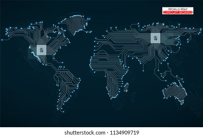 Abstract world map with cpu. Circuit board. Technology background. Vector illustration. Eps 10