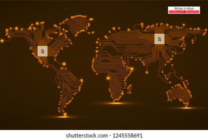 Abstract world map with cpu. Circuit board. Technology background. Vector