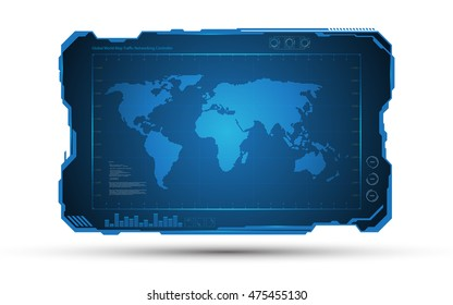 abstract world map digital frame tech sci fi concept design background