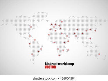 Abstract world map of dots, capitals countries, vector illustration eps 10