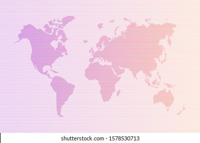 Abstract world map in horizontal lines. Vector cartography with colorful gradient stripes countries illustration