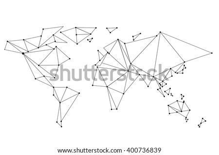 Abstract World Map Lines Connection Vector Stock Vector Royalty