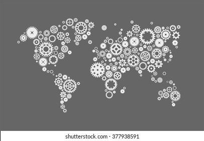 Abstract world map made of machine gear mechanism illustration