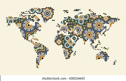 Arab world map images stock photos vectors shutterstock abstract world map with morocco mosaic traditional arabic islamic design green blue gumiabroncs