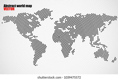 Abstract world map of radial dots. Vector
