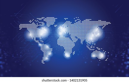 Abstract World map technology data communication and internet connections concept on background blue sky space, Vector