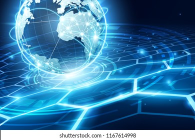 Abstract of world network, internet and global connection concept, vector art and illustration.