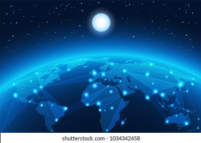 Abstract world network vector background, world web connection illustration. High tech world map with connection lines business background.