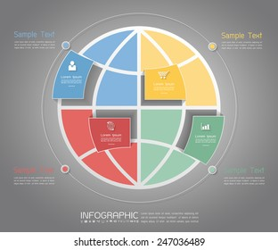 Abstract world Template. Can be used for workflow layout, banner, diagram, web design, infographic Vector Eps10