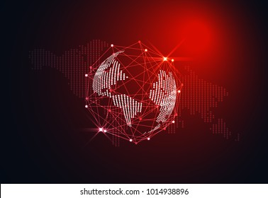 Abstract world wireframe digital technology and map dot concept Sci fi red light on hi tech future dark background. for template, web design or presentation.
