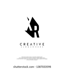 abstract XR logo letter in shadow shape design concept