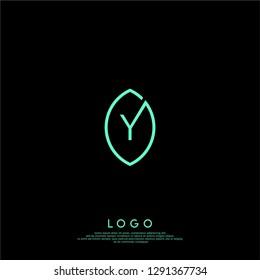 abstract y logo letter inside the green leaf shape design concept