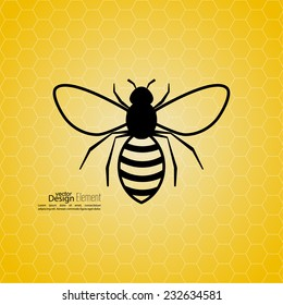 Abstract yellow background with bee honeycombs.