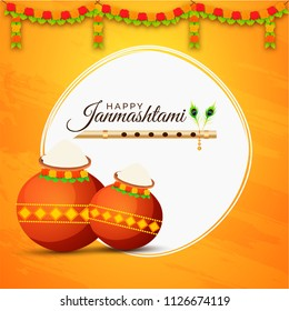 Abstract yellow background decorated with floral garland, golden flute (Bansuri) and brown pots for janmashtami celebration.