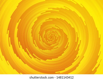 Abstract yellow background. Vortex trail, tunnel or whirlpool. Rotating rays. Vector sunny pattern