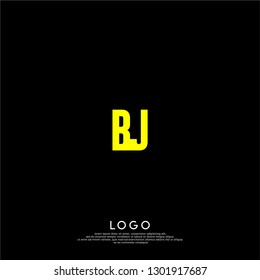abstract yellow BJ logo letters design concept in shadow shape