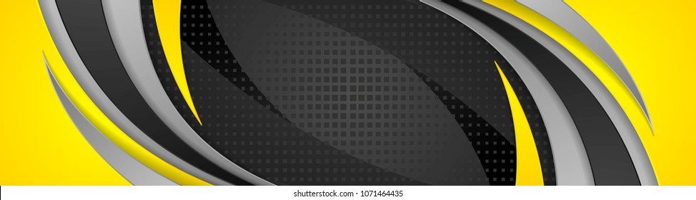 Abstract yellow and black corporate wavy banner design. Vector web header background