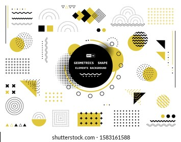 Abstract yellow and black geometric shape of modern elements cover design. Use for poster, artwork, template design, ad, print. illustration vector eps10