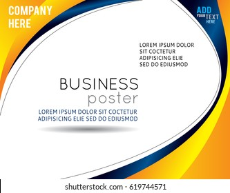 Abstract yellow and blue background with wave - brochure design or flyer