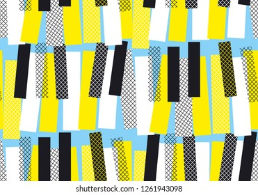 Abstract yellow and blue jazz music seamless pattern. bright summer colors piano keys repeatable motif, pop-music geometric concept motif for wrapping paper, fabric.