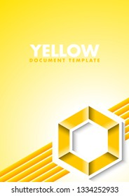 Abstract yellow document template with lines and hexagonal symbol