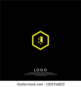 abstract yellow geometric hexagon BJ logo letters design concept in shadow shape