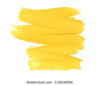 Abstract yellow hand painted textured ink brush background. Isolated strokes with dry rough edges.