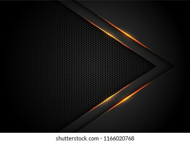 Abstract yellow light arrow on black with hexagon mesh design modern luxury futuristic technology background vector illustration.