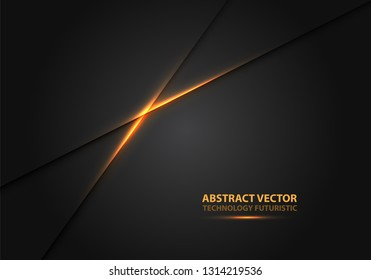 Abstract yellow light line power on black shadow design modern luxury futuristic background vector illustration.