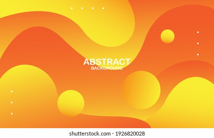 Abstract yellow liquid wave background. Fluid composition of shapes. Vector illustration